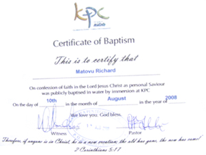 Certificate of Baptism